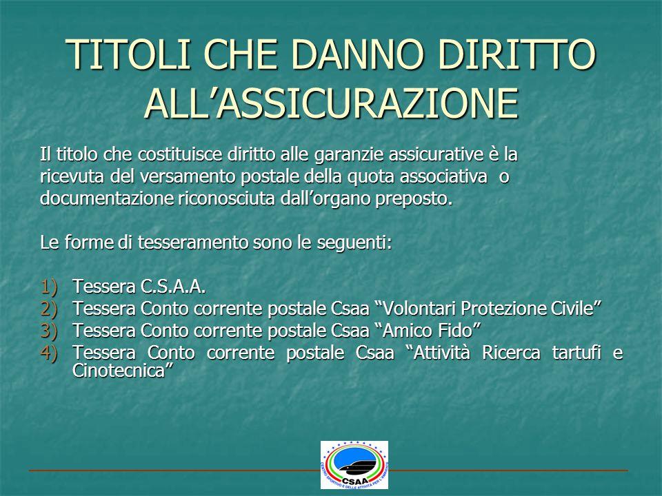 TESSERA CONTO CORRENTE POSTALE CSAAATTIVITÀ DI RICERCA TARTUFI E CINOTECNICA (ESCLUSO UTILIZZO DEL FUCILE) R.C.T.