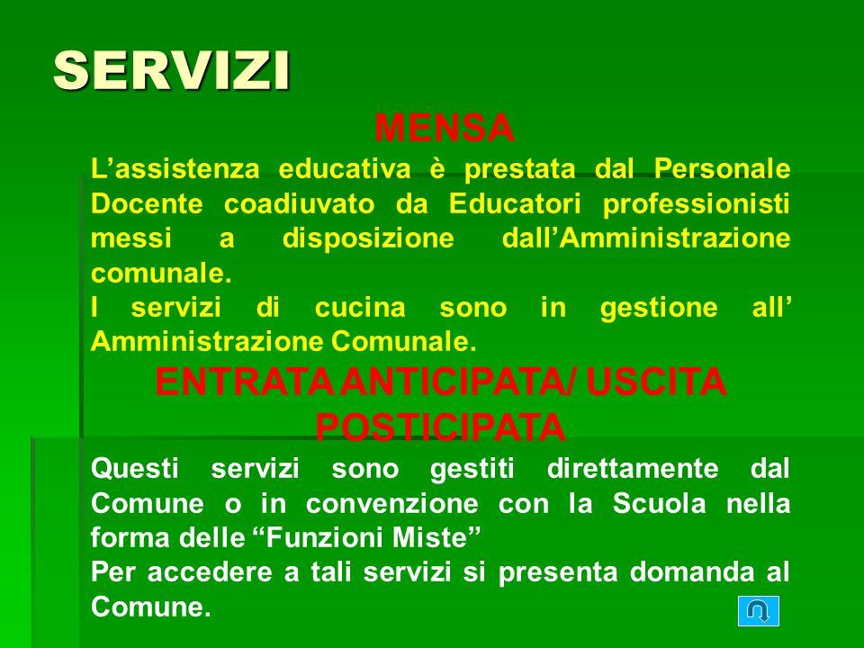 MENSA Lassistenza educativa è prestata dal Personale Docente coadiuvato da Educatori professionisti messi a disposizione dallAmministrazione comunale.