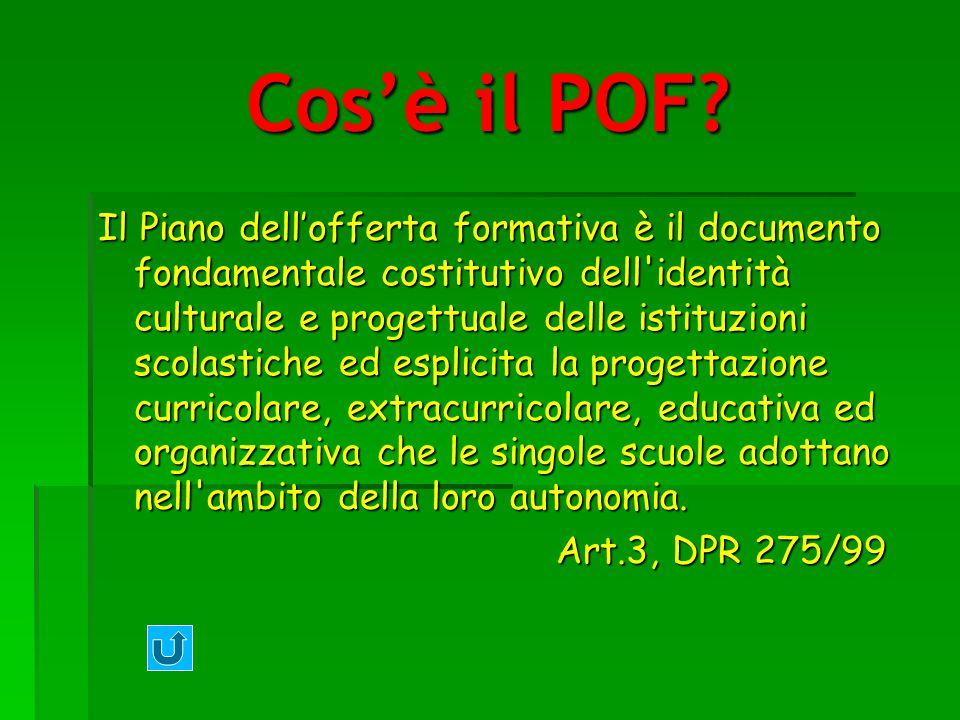 Cosè il POF? Il Piano dellofferta formativa è il documento fondamentale costitutivo dell'identità culturale e progettuale delle istituzioni scolastich