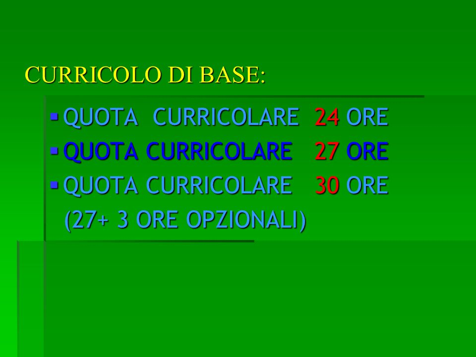 CURRICOLO DI BASE: QUOTA CURRICOLARE 24 ORE QUOTA CURRICOLARE 24 ORE QUOTA CURRICOLARE 27 ORE QUOTA CURRICOLARE 27 ORE QUOTA CURRICOLARE 30 ORE QUOTA