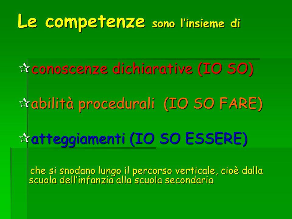 Le competenze sono linsieme di conoscenze dichiarative (IO SO) conoscenze dichiarative (IO SO) abilità procedurali (IO SO FARE) abilità procedurali (I