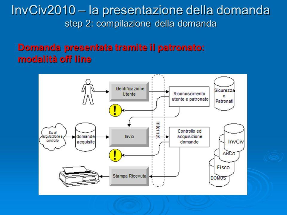 InvCiv2010 – la presentazione della domanda step 2: compilazione della domanda Domanda presentata tramite il patronato: modalità off line