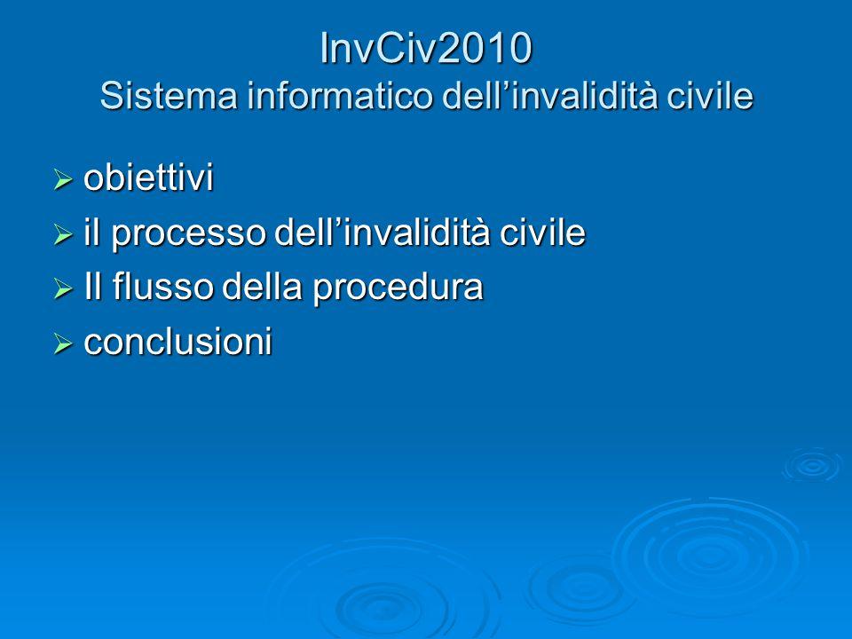 InvCiv2010 Sistema informatico dellinvalidità civile obiettivi obiettivi il processo dellinvalidità civile il processo dellinvalidità civile Il flusso