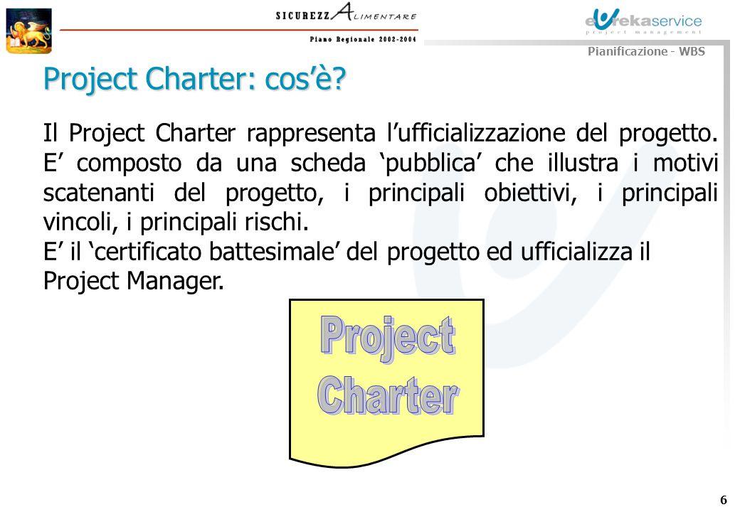 6 Il Project Charter rappresenta lufficializzazione del progetto. E composto da una scheda pubblica che illustra i motivi scatenanti del progetto, i p