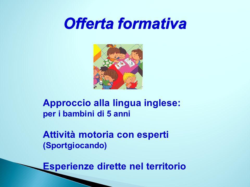 Approccio alla lingua inglese: per i bambini di 5 anni Attività motoria con esperti (Sportgiocando) Esperienze dirette nel territorio
