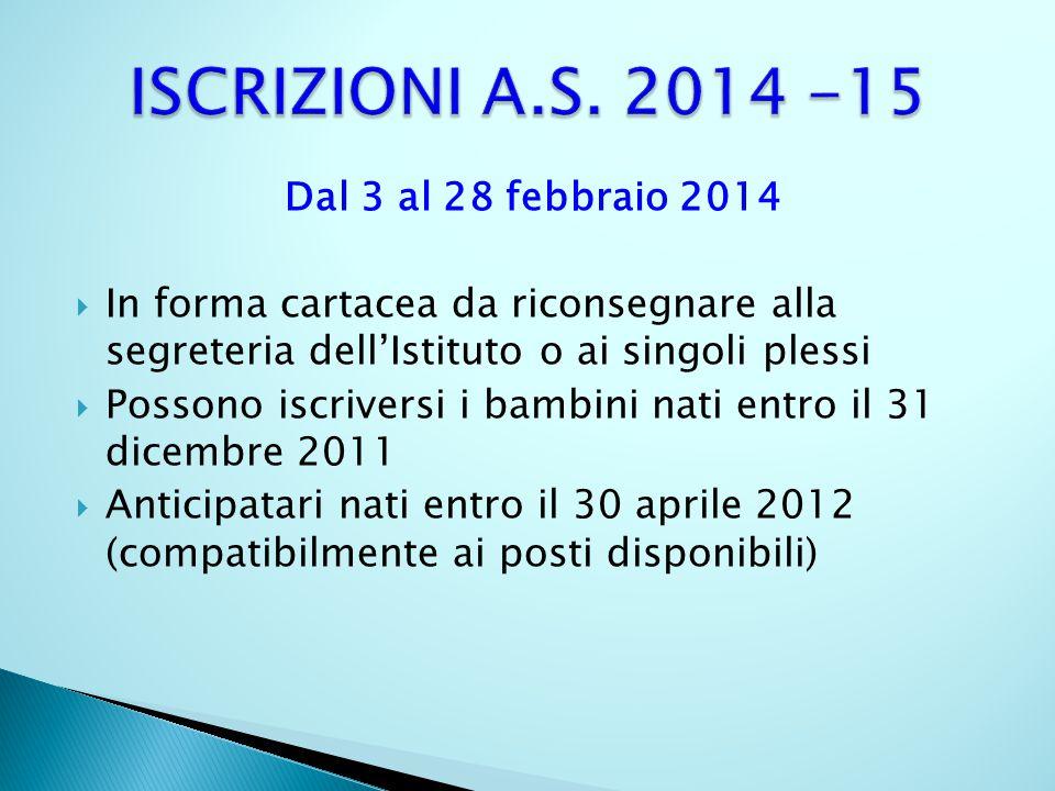 Dal 3 al 28 febbraio 2014 In forma cartacea da riconsegnare alla segreteria dellIstituto o ai singoli plessi Possono iscriversi i bambini nati entro i