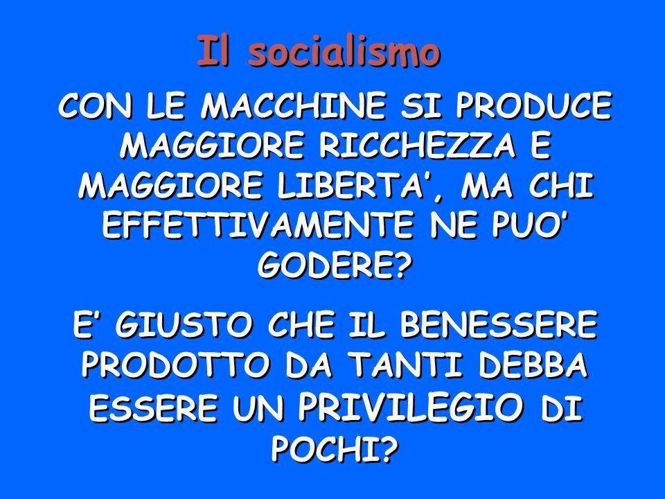 Il socialismo CON LE MACCHINE SI PRODUCE MAGGIORE RICCHEZZA E MAGGIORE LIBERTA, MA CHI EFFETTIVAMENTE NE PUO GODERE? E GIUSTO CHE IL BENESSERE PRODOTT