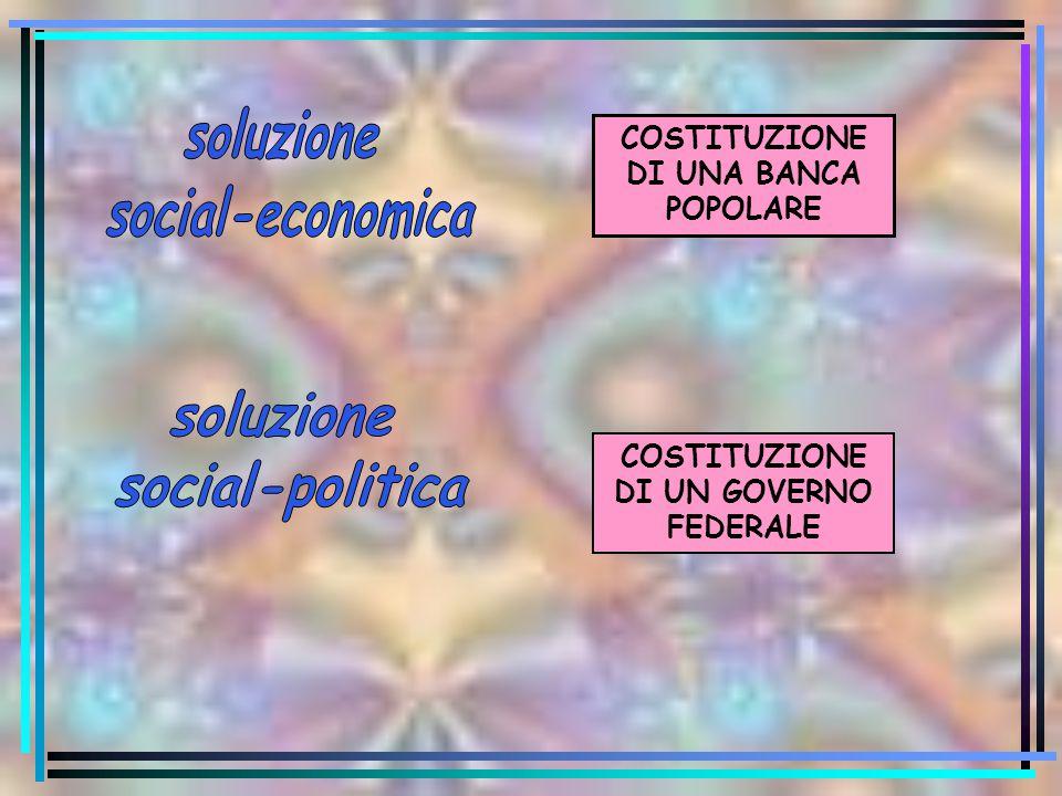 COSTITUZIONE DI UNA BANCA POPOLARE COSTITUZIONE DI UN GOVERNO FEDERALE