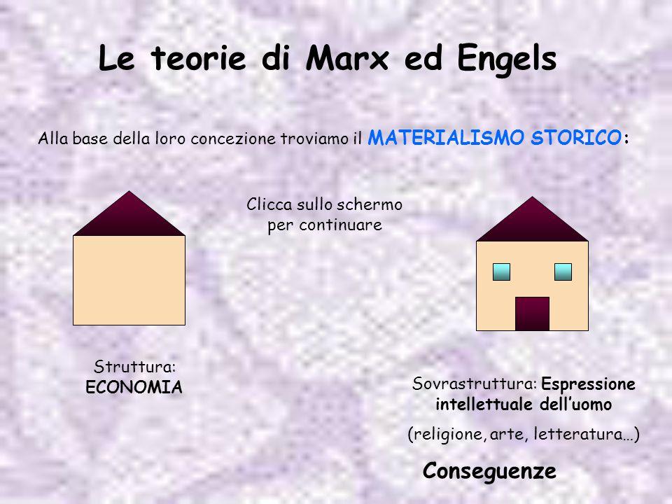 Le teorie di Marx ed Engels Alla base della loro concezione troviamo il MATERIALISMO STORICO: Struttura: ECONOMIA Sovrastruttura: Espressione intellet