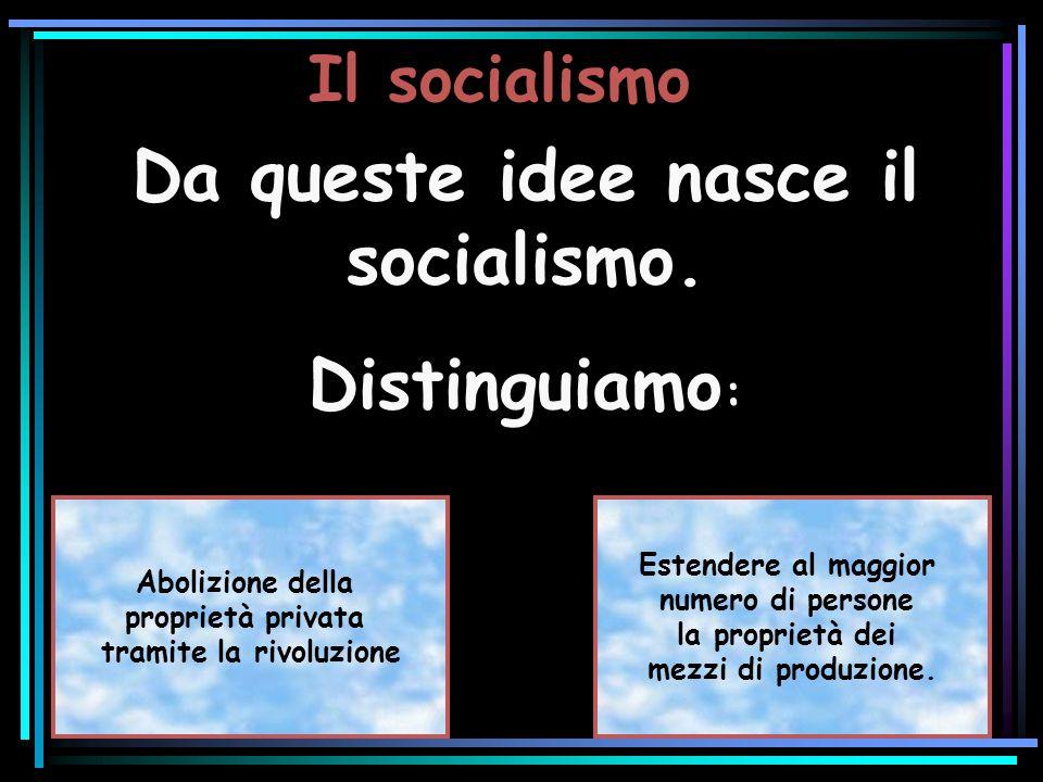 Il socialismo Da queste idee nasce il socialismo. Distinguiamo : Da queste idee nasce il socialismo. Distinguiamo : Abolizione della proprietà privata