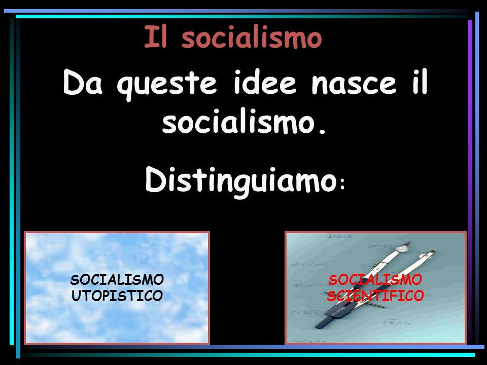 Il socialismo Da queste idee nasce il socialismo. Distinguiamo : Da queste idee nasce il socialismo. Distinguiamo : SOCIALISMO UTOPISTICO SOCIALISMO S