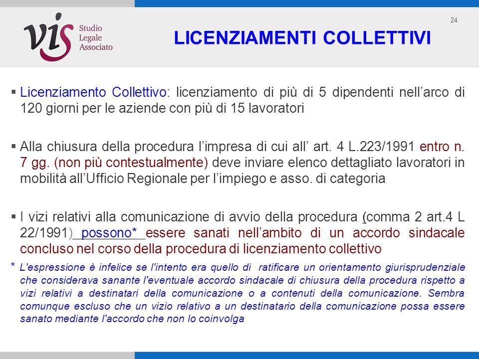 24 LICENZIAMENTI COLLETTIVI Licenziamento Collettivo: licenziamento di più di 5 dipendenti nellarco di 120 giorni per le aziende con più di 15 lavoratori Alla chiusura della procedura limpresa di cui all art.