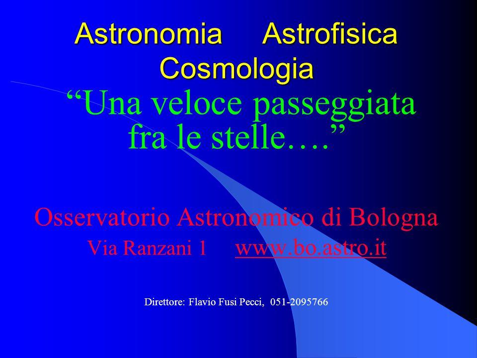 Astronomia Astrofisica Cosmologia Una veloce passeggiata fra le stelle…. Osservatorio Astronomico di Bologna Via Ranzani 1 www.bo.astro.it www.bo.astr