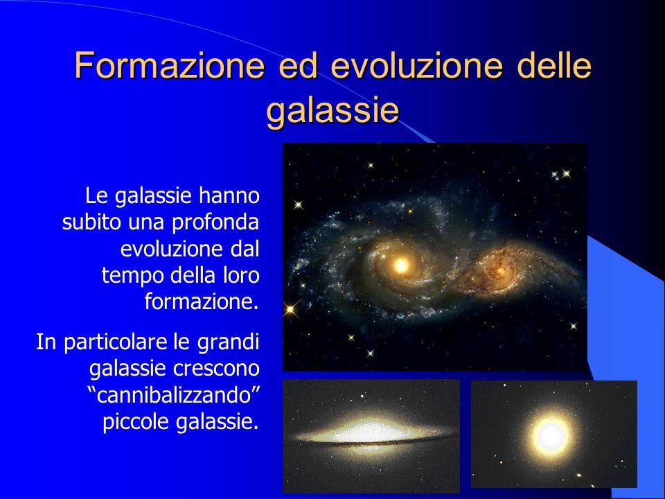 Formazione ed evoluzione delle galassie Le galassie hanno subito una profonda evoluzione dal tempo della loro formazione. In particolare le grandi gal