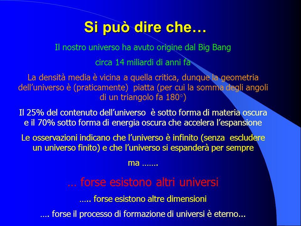 Si può dire che… Il nostro universo ha avuto origine dal Big Bang circa 14 miliardi di anni fa La densità media è vicina a quella critica, dunque la g