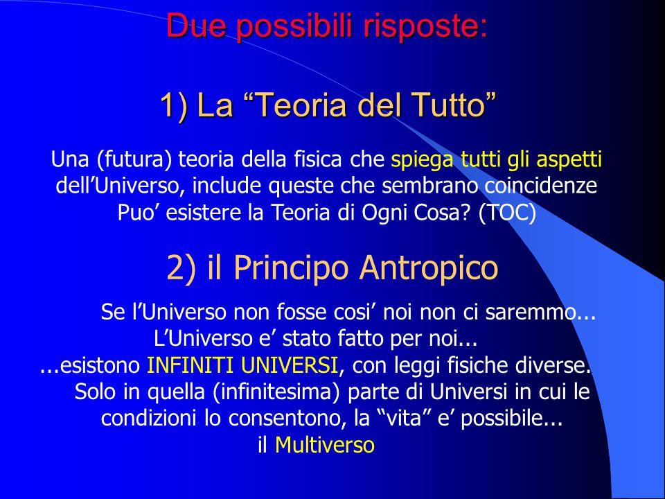Due possibili risposte: 1) La Teoria del Tutto 2) il Principo Antropico Una (futura) teoria della fisica che spiega tutti gli aspetti dellUniverso, in