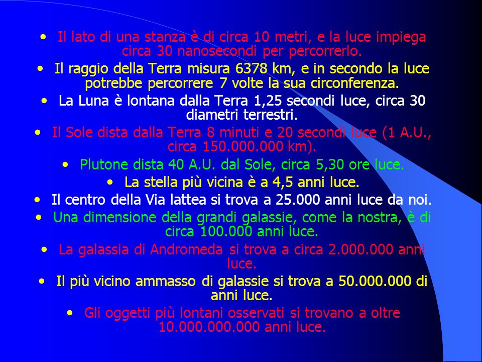 Il lato di una stanza è di circa 10 metri, e la luce impiega circa 30 nanosecondi per percorrerlo. Il raggio della Terra misura 6378 km, e in secondo
