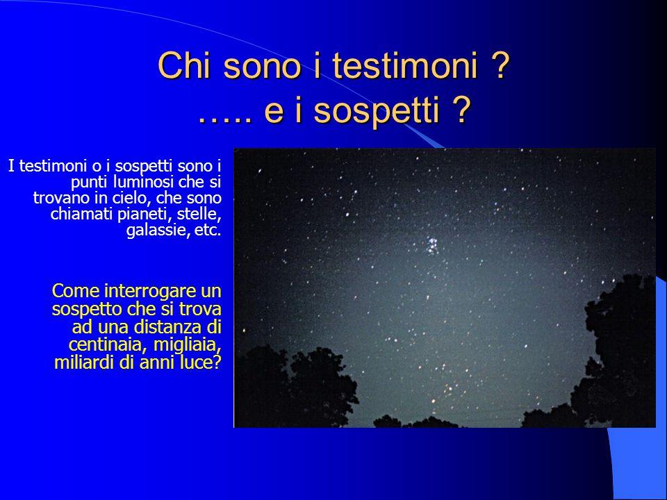 Chi sono i testimoni ? ….. e i sospetti ? I testimoni o i sospetti sono i punti luminosi che si trovano in cielo, che sono chiamati pianeti, stelle, g