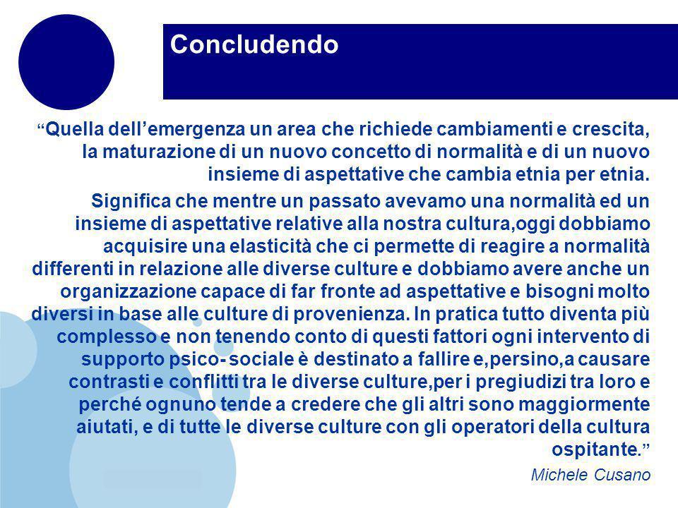 www.company.com Concludendo Quella dellemergenza un area che richiede cambiamenti e crescita, la maturazione di un nuovo concetto di normalità e di un nuovo insieme di aspettative che cambia etnia per etnia.