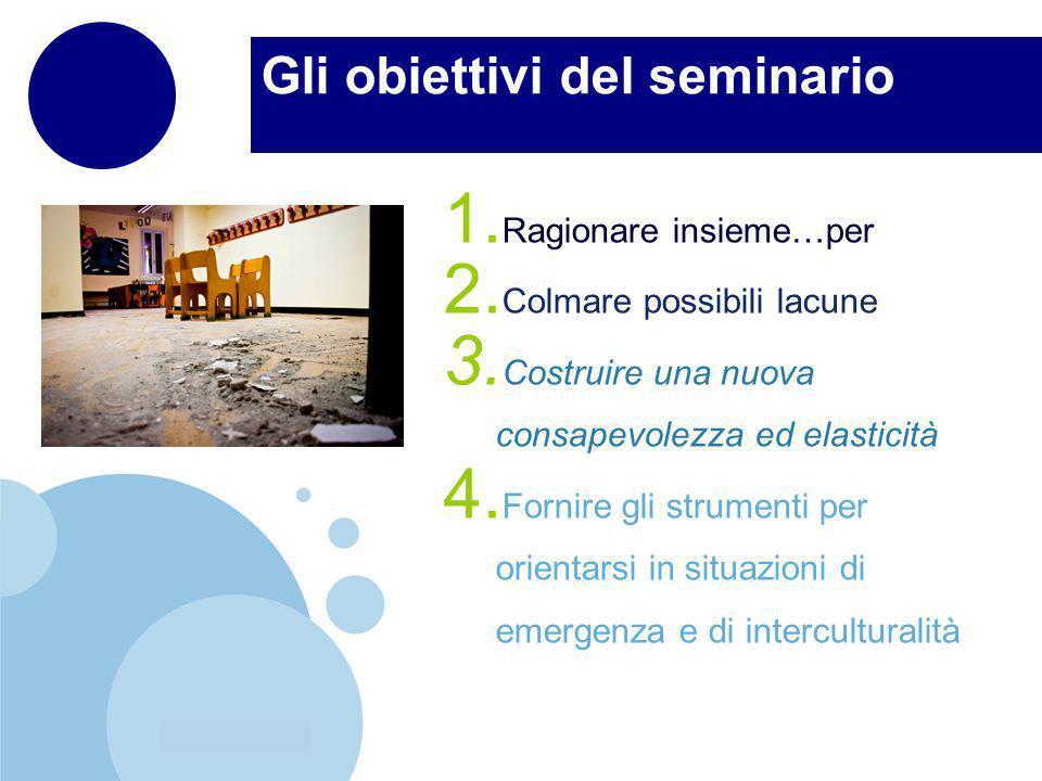 www.company.com Gli obiettivi del seminario 1. Ragionare insieme…per 2.