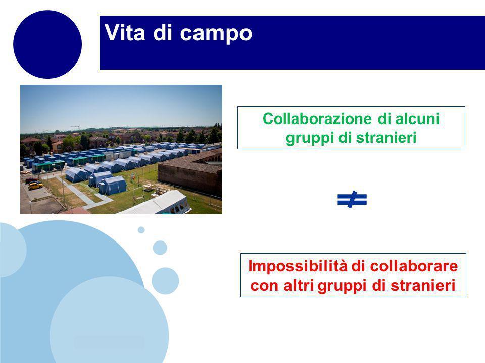 www.company.com Vita di campo Collaborazione di alcuni gruppi di stranieri Impossibilità di collaborare con altri gruppi di stranieri