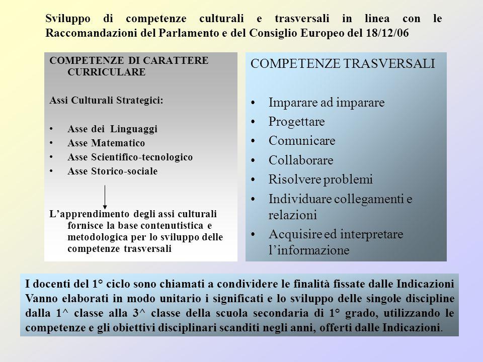 COMPETENZE DI CARATTERE CURRICULARE Assi Culturali Strategici: Asse dei Linguaggi Asse Matematico Asse Scientifico-tecnologico Asse Storico-sociale La