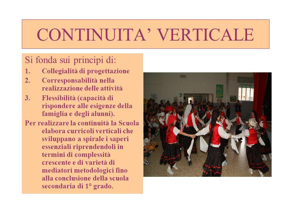 CONTINUITA VERTICALE Si fonda sui principi di: 1.Collegialità di progettazione 2.Corresponsabilità nella realizzazione delle attività 3.Flessibilità (