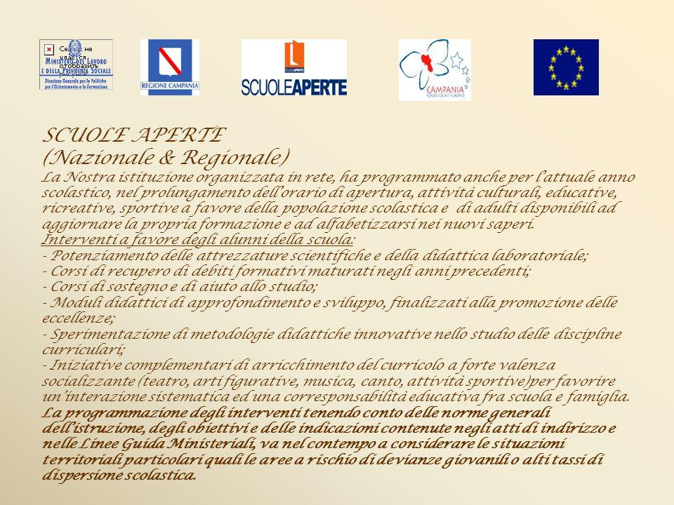 SCUOLE APERTE (Nazionale & Regionale) La Nostra istituzione organizzata in rete, ha programmato anche per lattuale anno scolastico, nel prolungamento