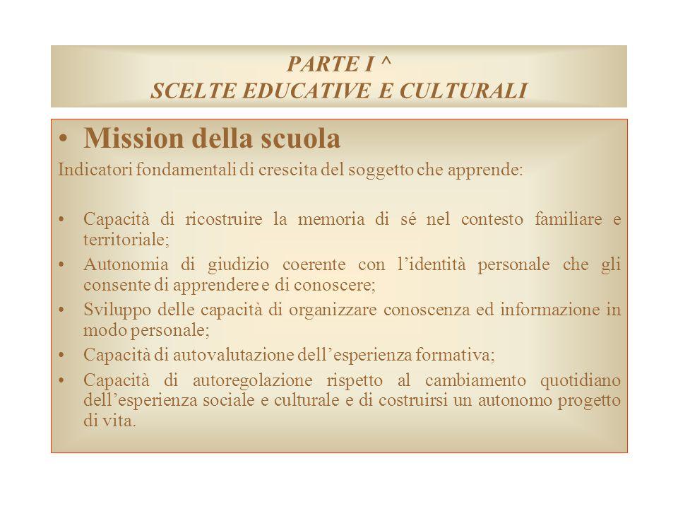 PARTE I ^ SCELTE EDUCATIVE E CULTURALI Mission della scuola Indicatori fondamentali di crescita del soggetto che apprende: Capacità di ricostruire la