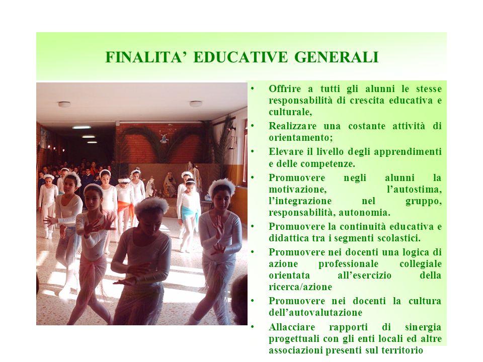 FINALITA EDUCATIVE GENERALI Offrire a tutti gli alunni le stesse responsabilità di crescita educativa e culturale, Realizzare una costante attività di