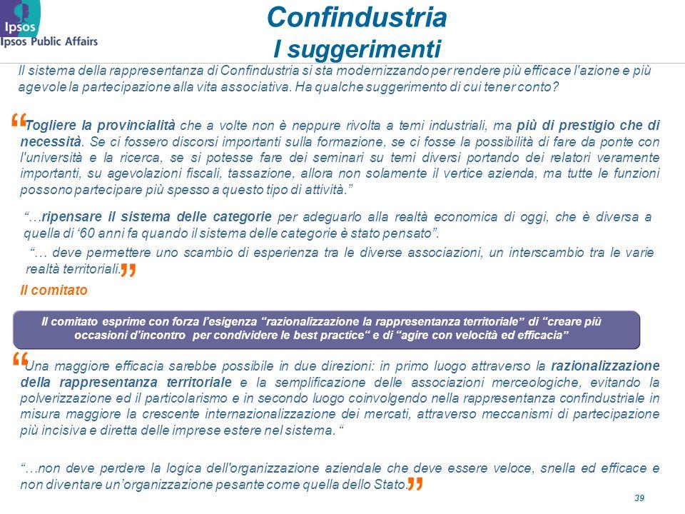 39 Confindustria I suggerimenti Il sistema della rappresentanza di Confindustria si sta modernizzando per rendere più efficace l azione e più agevole la partecipazione alla vita associativa.