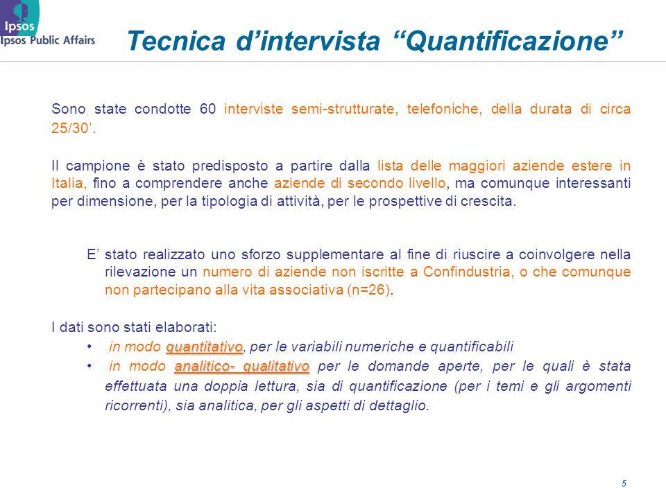 5 Tecnica dintervista Quantificazione Sono state condotte 60 interviste semi-strutturate, telefoniche, della durata di circa 25/30.