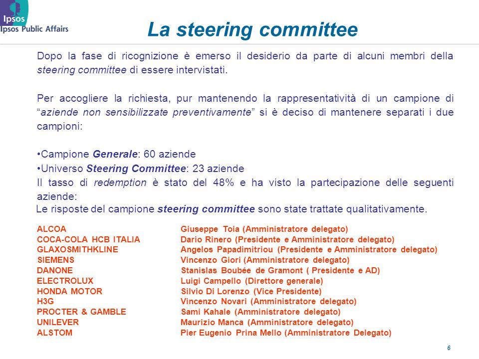 6 La steering committee Dopo la fase di ricognizione è emerso il desiderio da parte di alcuni membri della steering committee di essere intervistati.