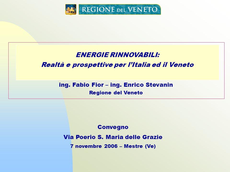 ENERGIE RINNOVABILI: Realtà e prospettive per lItalia ed il Veneto Convegno Via Poerio S. Maria delle Grazie 7 novembre 2006 – Mestre (Ve) ing. Fabio