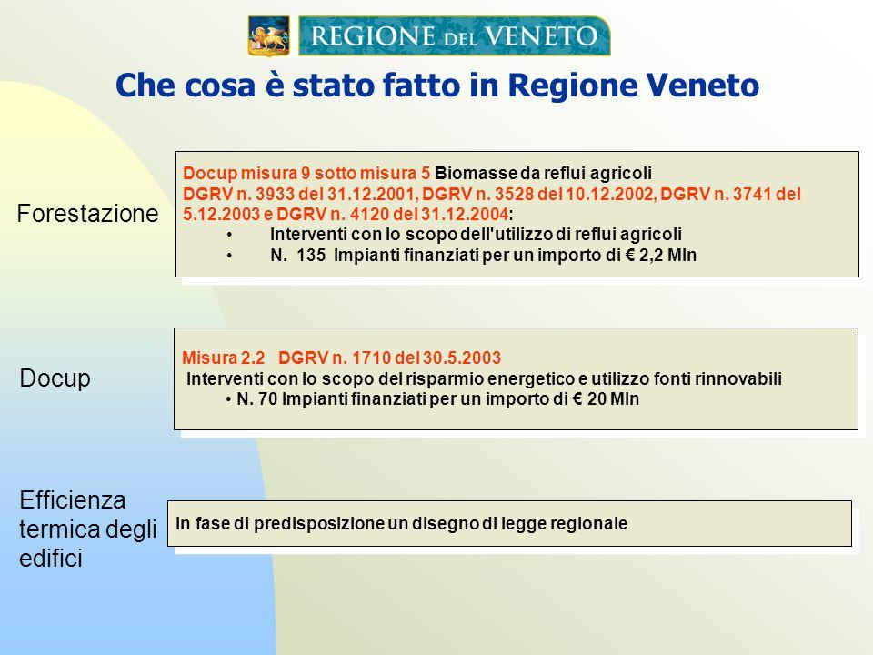 Docup misura 9 sotto misura 5 Biomasse da reflui agricoli DGRV n. 3933 del 31.12.2001, DGRV n. 3528 del 10.12.2002, DGRV n. 3741 del 5.12.2003 e DGRV