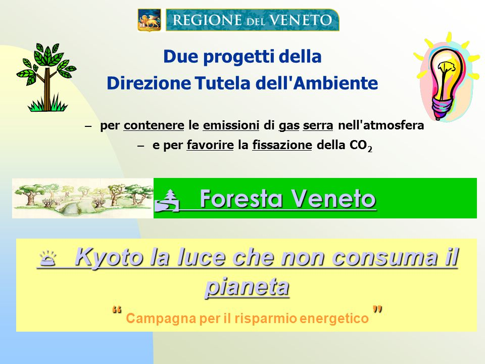Foresta Veneto Foresta Veneto Kyoto la luce che non consuma il pianeta Kyoto la luce che non consuma il pianeta Campagna per il risparmio energetico Due progetti della Direzione Tutela dell Ambiente contenere le emissioni di gas serra nell atmosfera – per contenere le emissioni di gas serra nell atmosfera favorire la fissazione della CO 2 – e per favorire la fissazione della CO 2