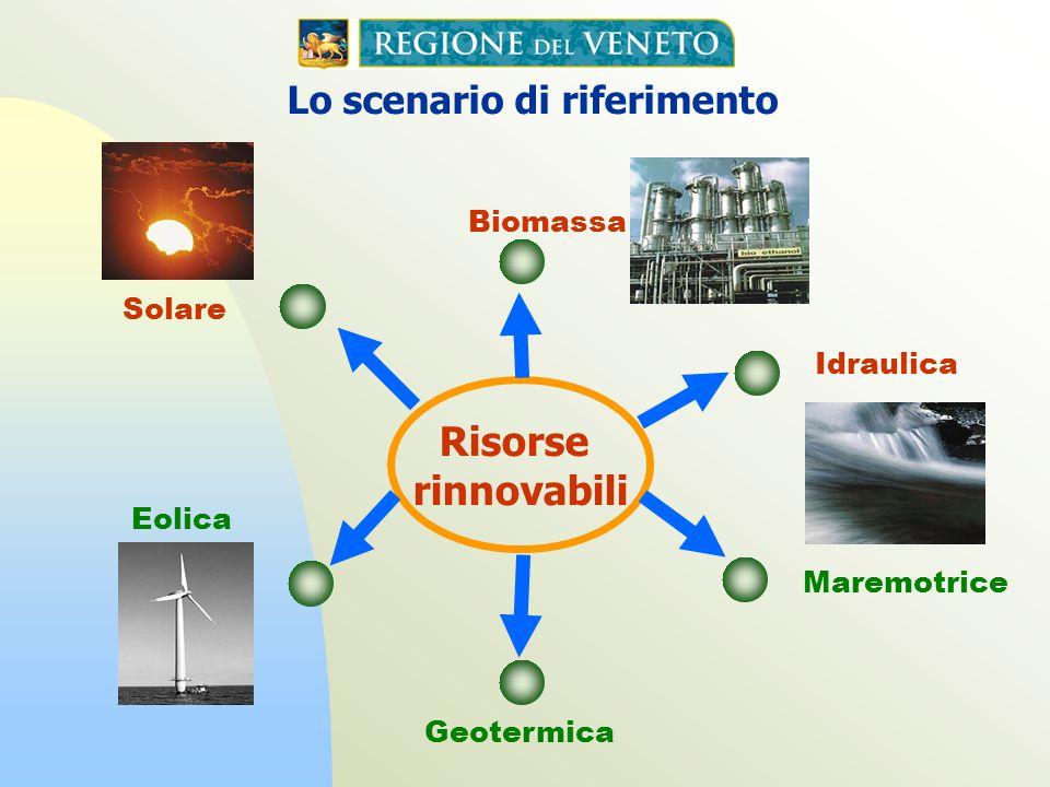 Lo scenario di riferimento attuale Biomassa Geotermica Risorse rinnovabili Maremotrice Eolica Idraulica Gas di discarica Biogas e processi di gassificazione Gas dai processi di depurazione Solare Biomasse agricole, alimentari e Rifiuti Solidi