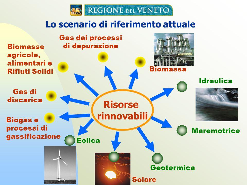 Lo scenario di riferimento attuale Biomassa Geotermica Risorse rinnovabili Maremotrice Eolica Idraulica Gas di discarica Biogas e processi di gassific