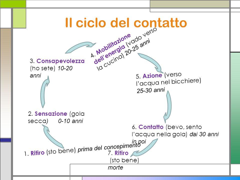 Il ciclo del contatto 3. Consapevolezza (ho sete) 10-20 anni 2. Sensazione (gola secca ) 0-10 anni 4. Mobilitazione dellenergia (vado verso la cucina)