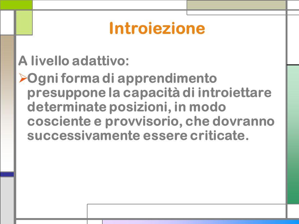 Introiezione A livello adattivo: Ogni forma di apprendimento presuppone la capacità di introiettare determinate posizioni, in modo cosciente e provvis