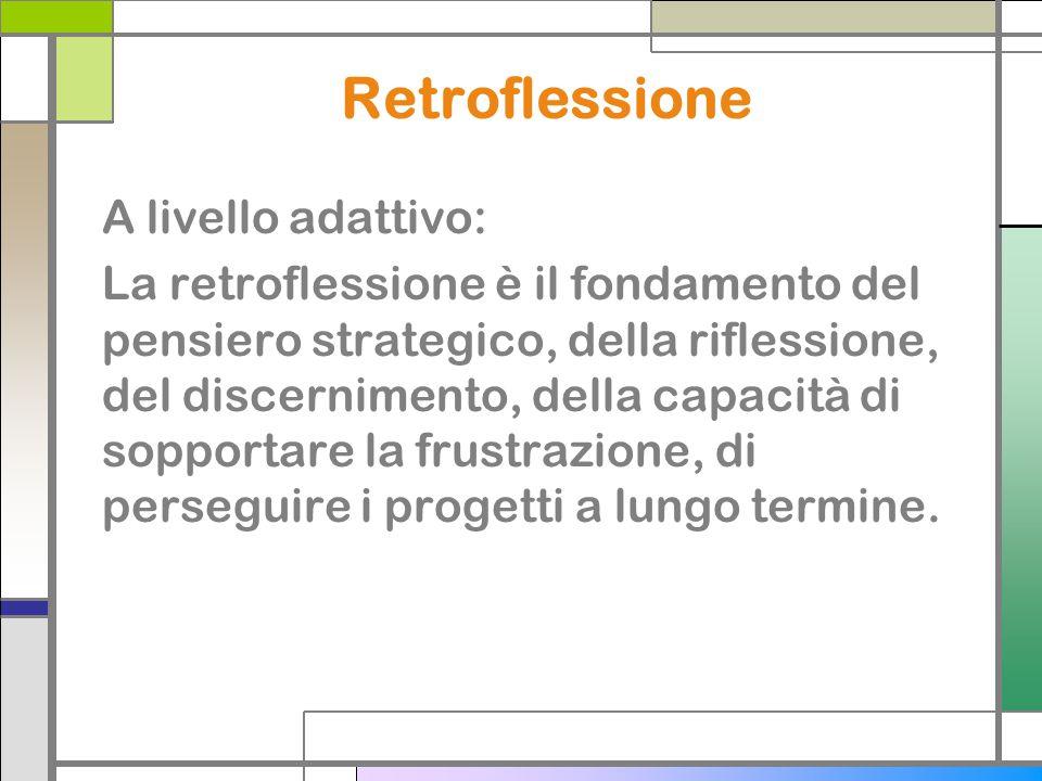 Retroflessione A livello adattivo: La retroflessione è il fondamento del pensiero strategico, della riflessione, del discernimento, della capacità di sopportare la frustrazione, di perseguire i progetti a lungo termine.