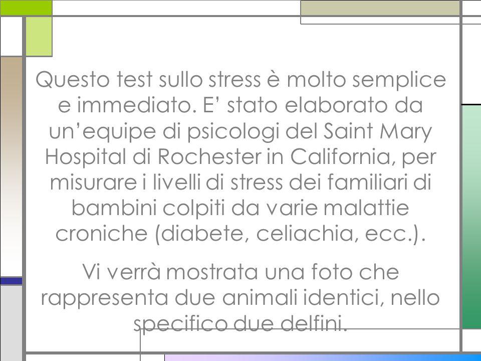 Questo test sullo stress è molto semplice e immediato. E stato elaborato da unequipe di psicologi del Saint Mary Hospital di Rochester in California,