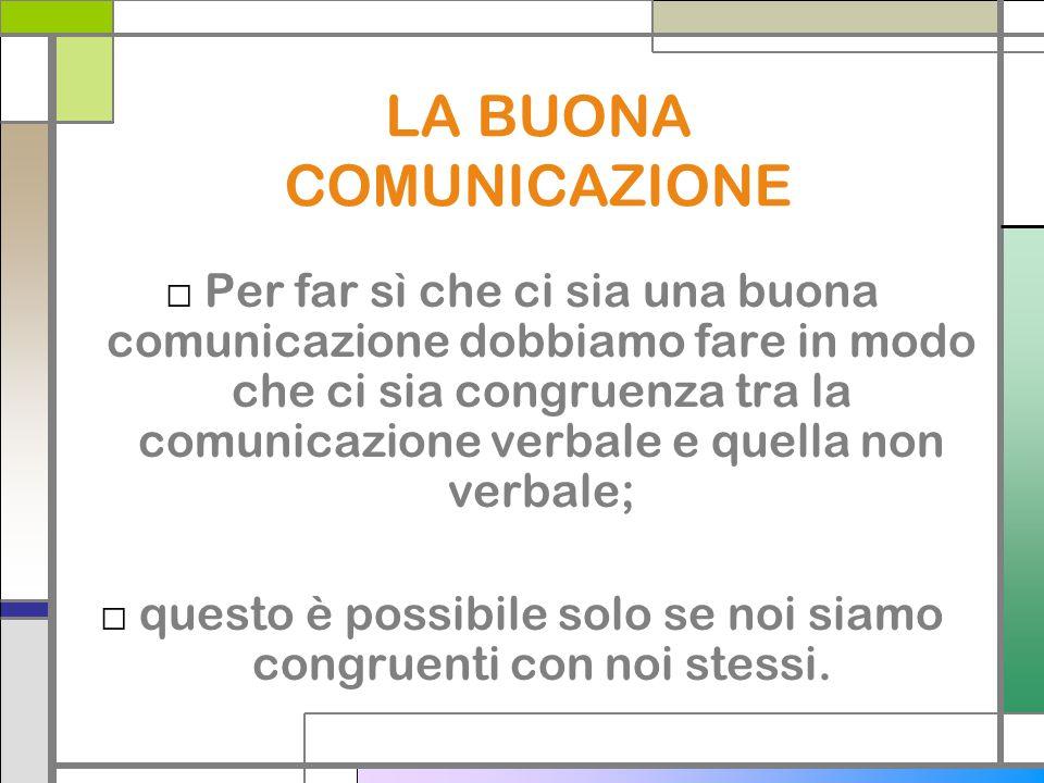 LA BUONA COMUNICAZIONE Per far sì che ci sia una buona comunicazione dobbiamo fare in modo che ci sia congruenza tra la comunicazione verbale e quella non verbale; questo è possibile solo se noi siamo congruenti con noi stessi.