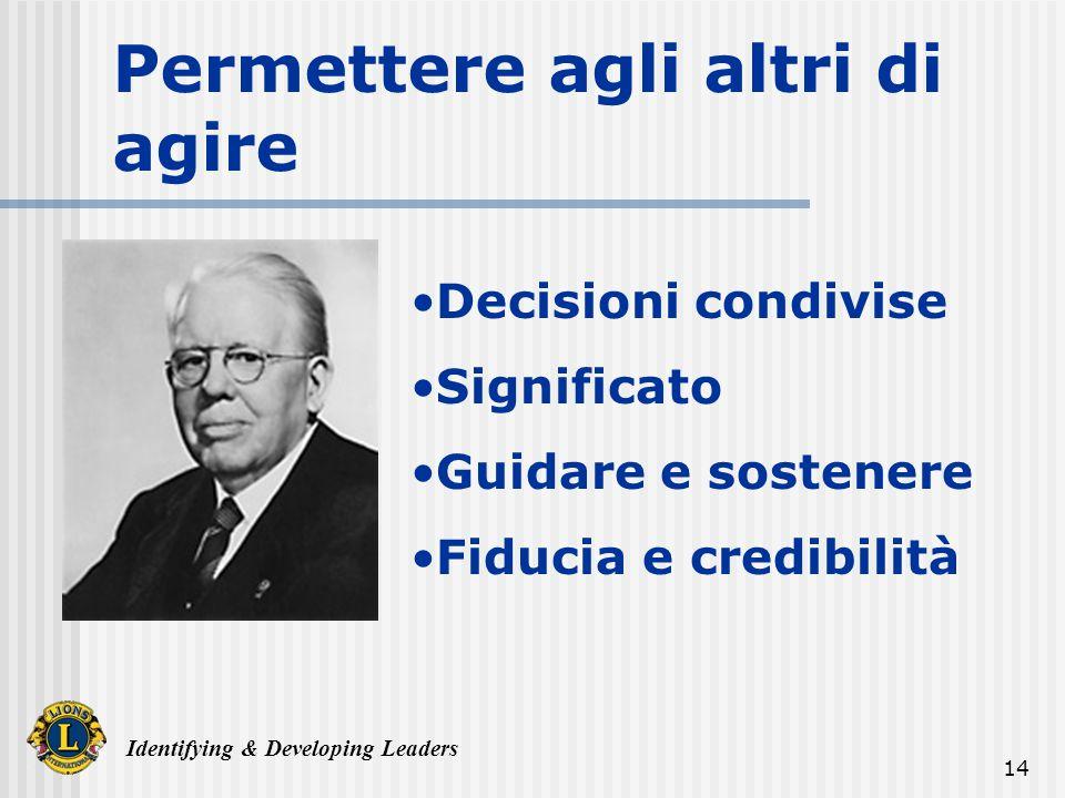 Identifying & Developing Leaders 14 Permettere agli altri di agire Decisioni condivise Significato Guidare e sostenere Fiducia e credibilità