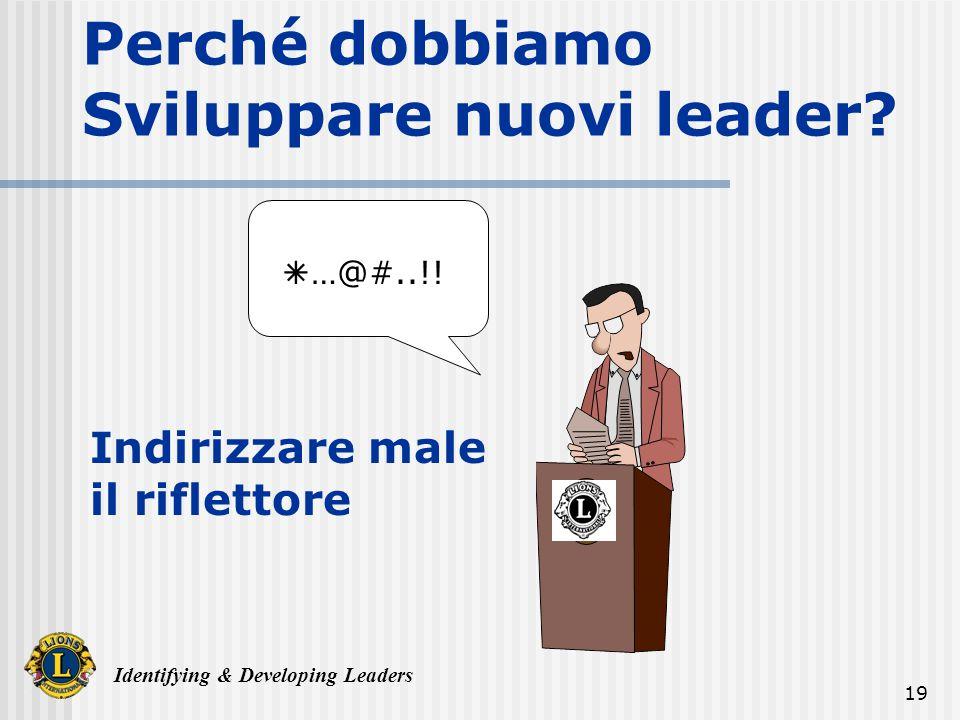 Identifying & Developing Leaders 19 Perché dobbiamo Sviluppare nuovi leader.