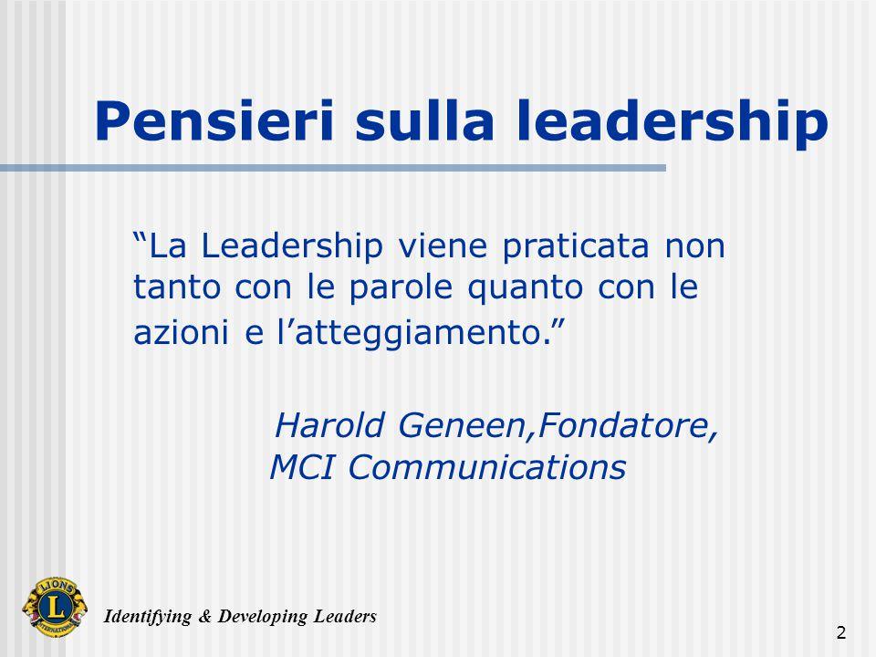 Identifying & Developing Leaders 13 Ispirate una visione comune Visione Obiettivi del Team Entusiasmo