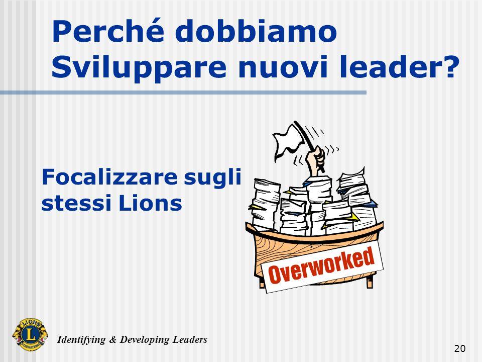 Identifying & Developing Leaders 20 Perché dobbiamo Sviluppare nuovi leader.