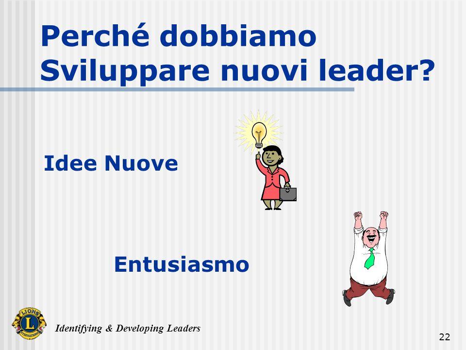 Identifying & Developing Leaders 22 Perché dobbiamo Sviluppare nuovi leader Idee Nuove Entusiasmo