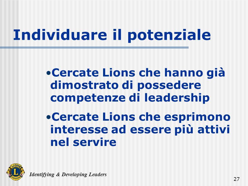 Identifying & Developing Leaders 27 Individuare il potenziale Cercate Lions che hanno già dimostrato di possedere competenze di leadership Cercate Lions che esprimono interesse ad essere più attivi nel servire