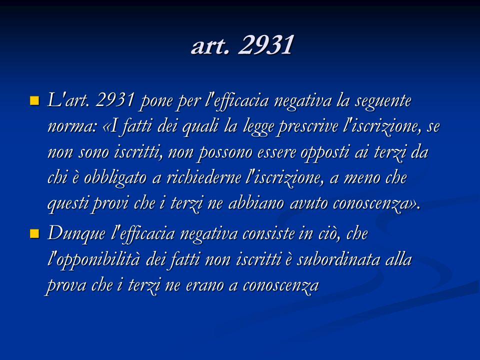 art. 2931 L'art. 2931 pone per l'efficacia negativa la seguente norma: «I fatti dei quali la legge prescrive l'iscrizione, se non sono iscritti, non p